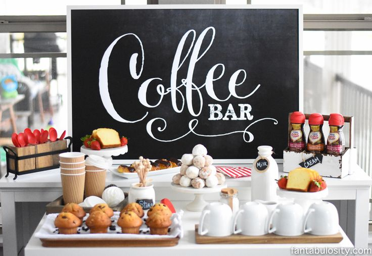 """I can SO do this!!! Coffee Bar Party: """"You've Warmed My Heart,"""" theme! LOVE what she did as a random act of kindness with her guests! DIY Coffee bar ideas galore, and SO easy! fantabulosity.com"""