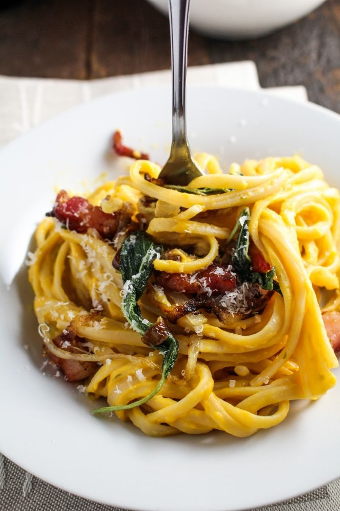 Butternut Squash Carbonara with Caramelized Onions and Fried Sage by katieatthekitchendoor #Pasta #Butternut_Squash #Onions #Sage