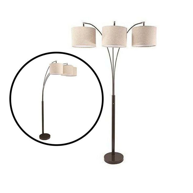 3 Light Floor Lamp Arching 4 Way Switch Shade Heavy Duty Base Modern Decor Home  #Unbranded #Modern