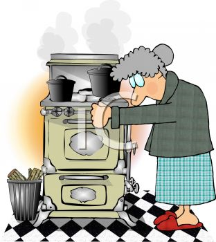 Royalty Free Clipart Image of a Woman Cooking