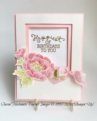 "STAMPS: Birthday Blooms. PAPER: Pink Pirouette, Shimmery White. INK: Versamark, Pink Pirouette, Rose Red, Pear Pizzazz. OTHER: Pink Pirouette 1/2"" Seam Binding Ribbon, White Embossing Powder, Heat Gun, Gold Embossing Powder, Gold Wink of Stella Glitter Brush, Aqua Painters."