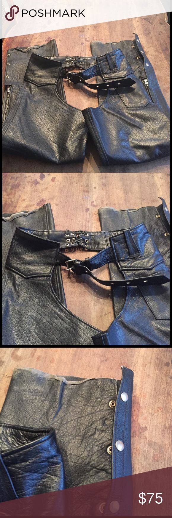 Vintage Motorcycle Chaps interstate leather Used chaps with character great addition to keep safe.   Fits like a small but could be xs or medium as the belt has many adjustments.  NOT Harley Davidson Harley-Davidson Jackets & Coats