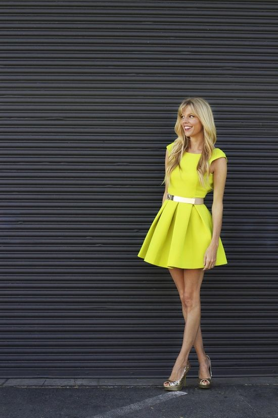 pleated lemon yellow dress with metallic belt, usually hate yellow but this is lovely.