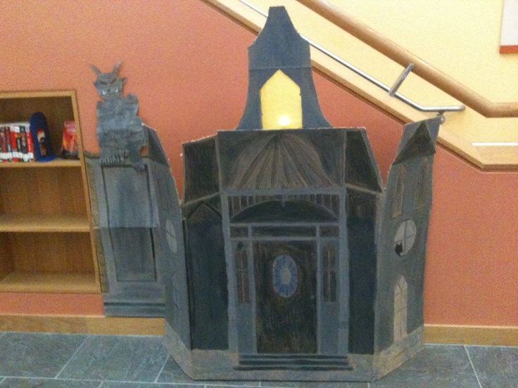 Haunted House I created from cardboard for the Halloween Display at @Otis Library: