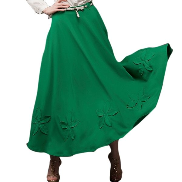 Lively Green Open Hem Pasting Flower Maxi Chiffon Skirt