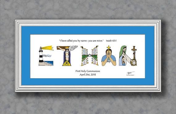 Catholic Baptism Gifts for Baby Boys and Girls -          Personalized 10x20 Frame Christian Name Art