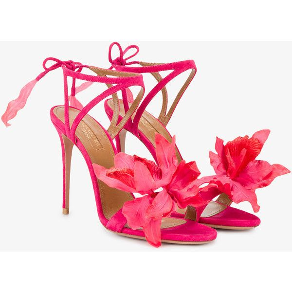 Aquazzura floral strappy sandals ($720) ❤ liked on Polyvore featuring shoes, sandals, ankle wrap sandals, thin strap sandals, high heel shoes, floral sandals and strappy high heel sandals