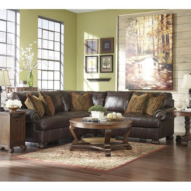 The Rich Traditional Design Of The Burrfield Square Walnut Sectional Set By Millennium By Ashley