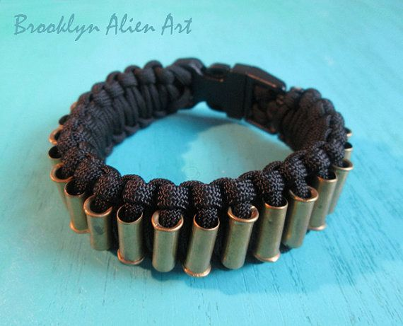 Bold Paracord Bullet Shell Bracelet   One of a by BrooklynAlienArt