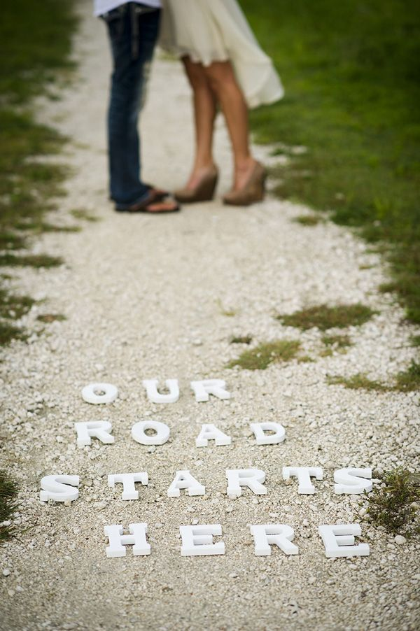 our road starts here romantic engagement photos