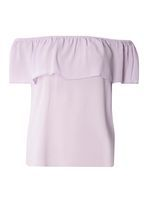 Womens Lilac Ruffle Bardot Top- Purple