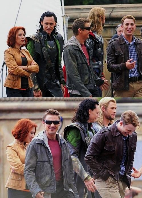 """Its almost like Steve made a really funny joke that only he and Hawkeye get and the others are just sort of smiling because Steve is laughing so hard, and then Thor is just like """"Whatever guys"""""""