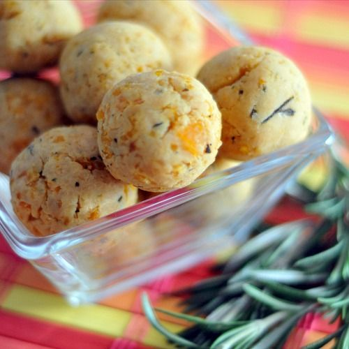 Rosemary Apricot Tahini Bites - kinda like baked balls of hummus? But I'm totally intrigued!