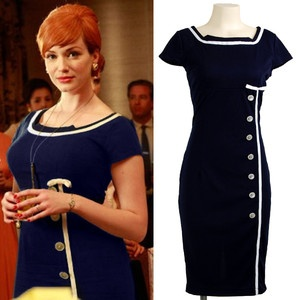 Joan Mad Men Navy Sailor Nautical Pinup Rockabilly Wiggle Pencil Dress Kleid XL