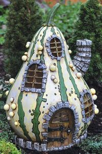 Striped Gourd House - this house is great inspiration for a painted stone gnome home. pinned with Pinvolve - pinvolve.co