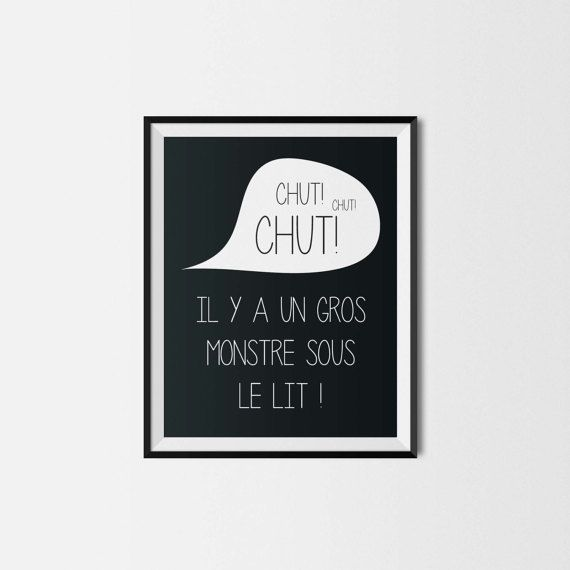 Illustration - Pour impression immédiate - MONSTRE - 8x10 - Chambre de bébé - enfant - Silence - Nursery wall decor - Instant download