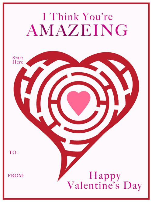 "3 Delightful FREE Valentine Card Printables - You're A""maze""ing Valentine Card"