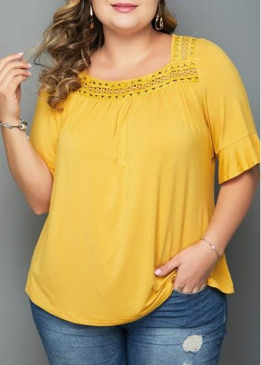 Plus Size Flare Cuff Lace Panel Blouse