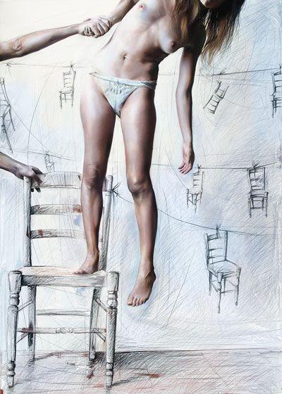 Elisa Anfuso - Sogno dunque esito Olio e pastelli su tela, cm 100x80, 2009