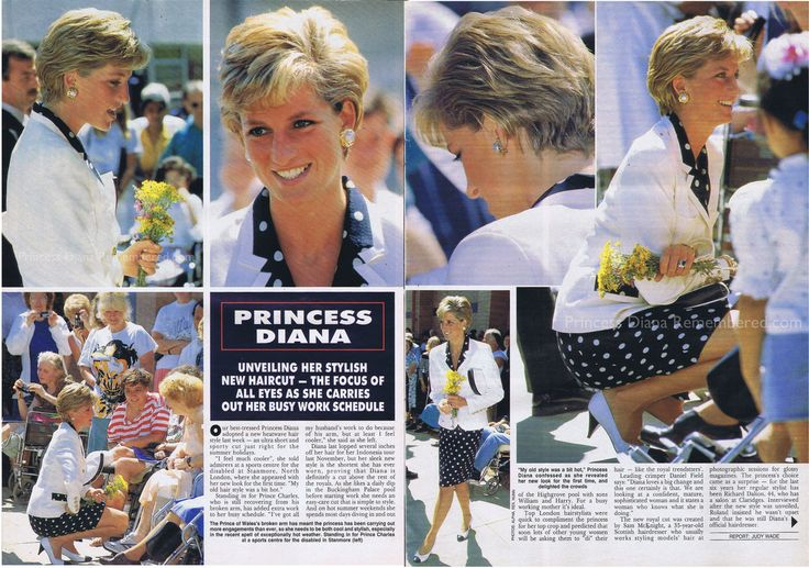 Article from the August 4th 1990 issue of HELLO! magazine. Princess Diana was pictured unveiling a new shorter hairstyle during a visit to a sports centre for the disabled in Stanmore in the London Borough of Harrow. Plus Hello looked back over Diana's changing hairstyles from 1980 - 1990.