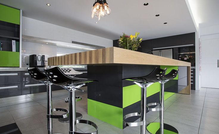 kitchen island green black timber