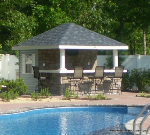10 39 x 12 39 siesta poolside bar vinyl siding outdoor for Garden pool sheds