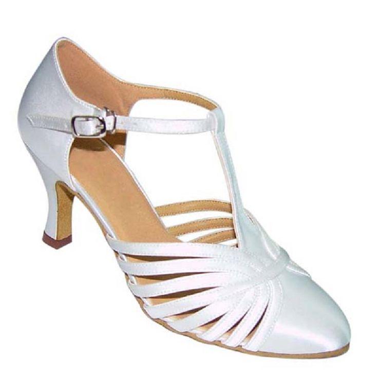 Zapatos De Baile White Black Tan Gold Silver Khaki Heel Height 7cm Size US 4-12 Ballroom Dance Salsa Shoes For Women NB013