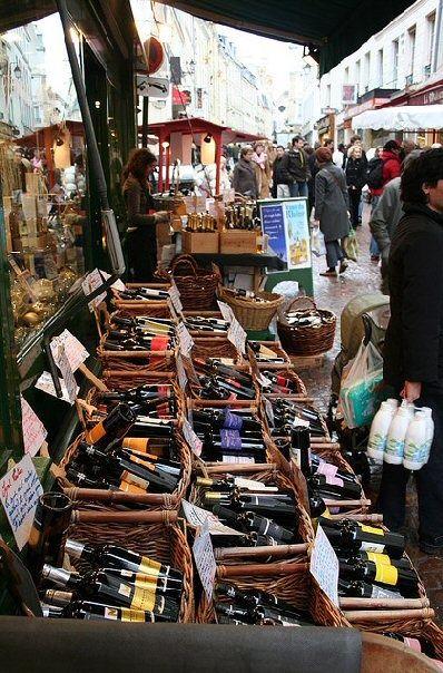 Wine seller in Street Market - Rue Mouffetard, Paris