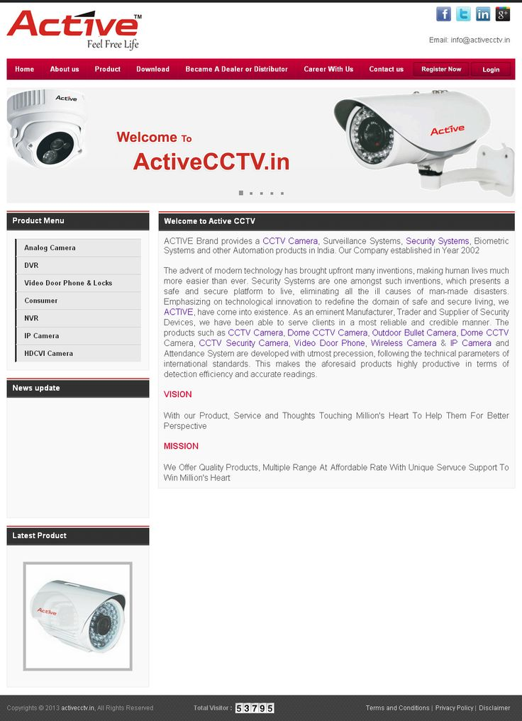 www.desaisoftware.com/General/GApplication.aspx?id=1  ACTIVE Brand provides a CCTV Camera, Surveillance Systems, Security Systems, Biometric Systems and other Automation products in India. Our Company established in Year 2002.