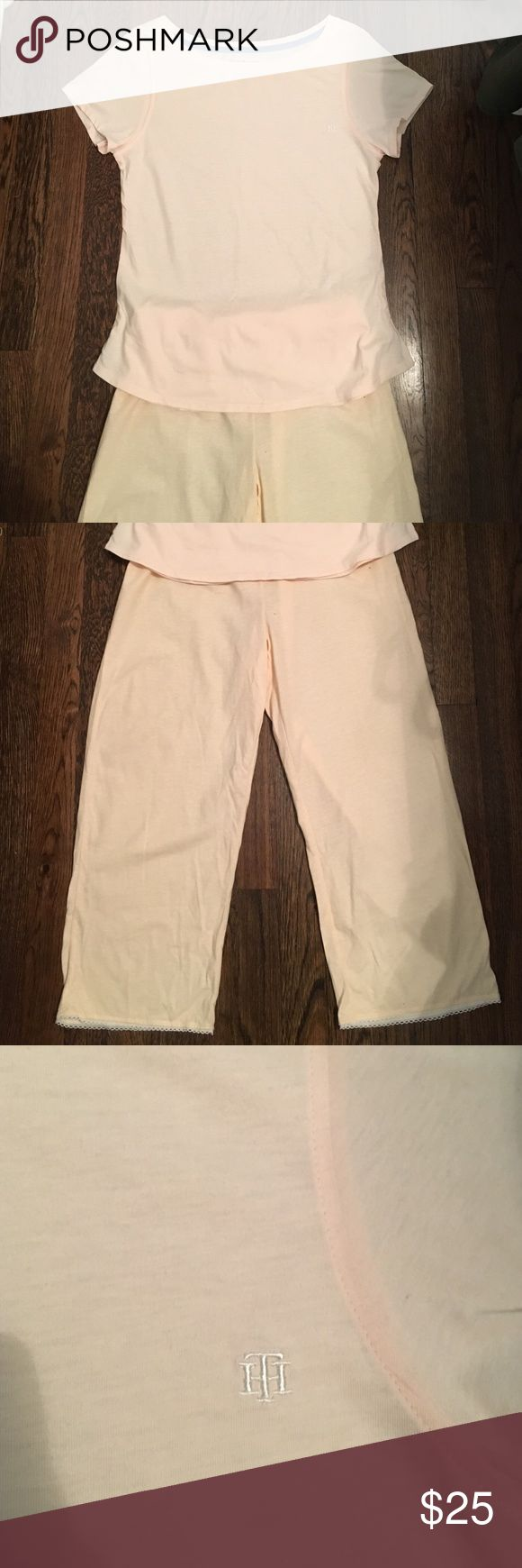 Tommy Hilfiger sleepwear set Tommy Hilfiger sleepwear set, light cream color, never worn..both pants and too size medium Tommy Hilfiger Intimates & Sleepwear Pajamas