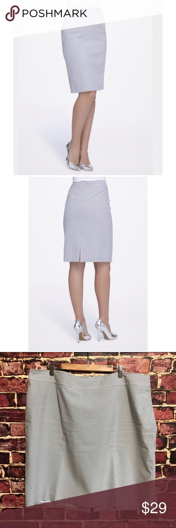 💗Tahari Straight Seersucker Skirt Size 20W. Tahari Arthur S. Levine plus size pencil skirt. Straight seersucker skirt is everyone's favorite warm-weather fabric. Designed with a wide, banded waist and a hint of stretch for a flattering fit. Color: navy & white pinstripes. Hidden back zipper with hook-&-eye enclosure. Polyester, cotton. $69 EUC  💟Fast 1-2 day shipping 💟Reasonable offers accepted 💟Purchase 3 or more items & get a special bundle rate!  💟Smoke-free home Tahari Skirts