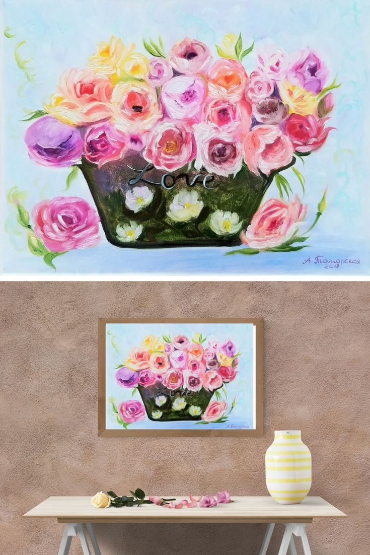 """Flowers for Mom. Mothers day gift. Gift for mom. Wall Art. Home Decor. Gift for her. Wall Decor. Original Oil Painting on Canvas. 12"""" x 16"""". 30,8 x 40,6 cm. 2018. Unframed. Painted Edges. Ready to Hang. #mothersday #giftforher #giftideas #homedecor #walldecor #wallart #oilpainting #floral #roses #peonies #decoration #hygge"""