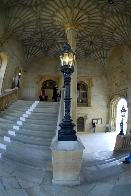Christ Church, Oxford England.  These are the stair steps Harry Potter and friends run up in the first movie.