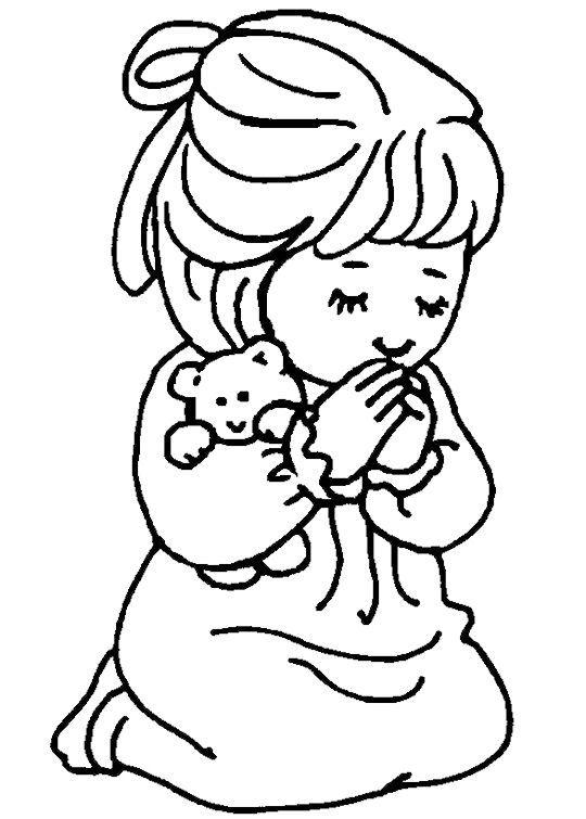 Girl Saying a Prayer Coloring Page: Free Girl Saying a