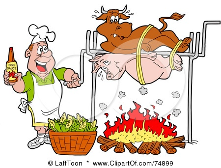 Funny Cartoon Man Holding Bottle Of BBQ Sauce While Cooking A Cow And