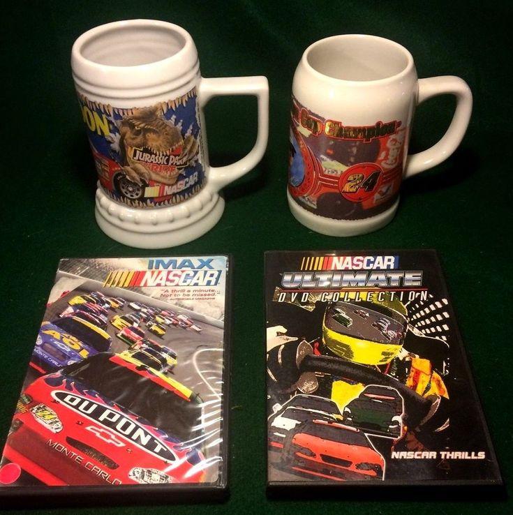 Nascar Collectible Lot - 2 Nascar DVD's & 2 Jeff Gordon Beer Steins