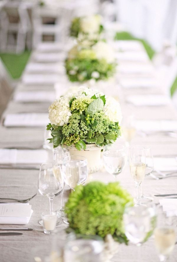 gorgeous, simple, green and white flower centerpiece (for wedding)