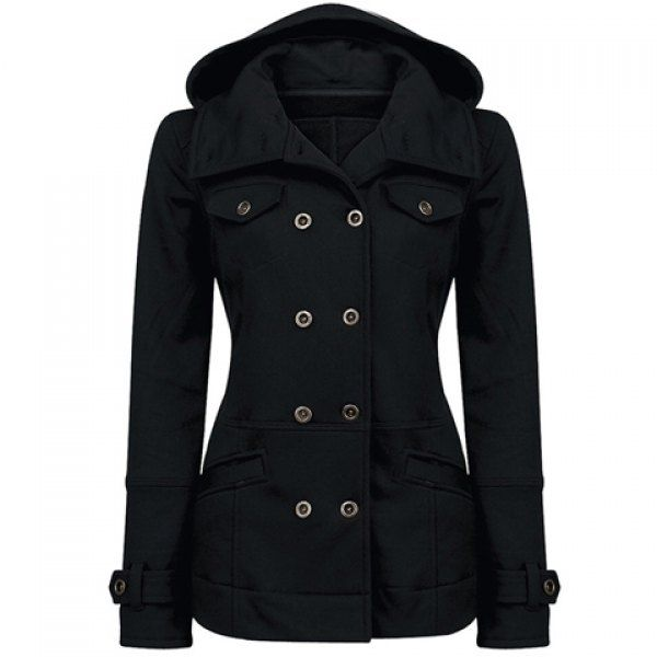 $47.99 Long Sleeves Hooded Flat Collar Double Breasted Pockets Beam Waist Thickened Stylish Women's Coat