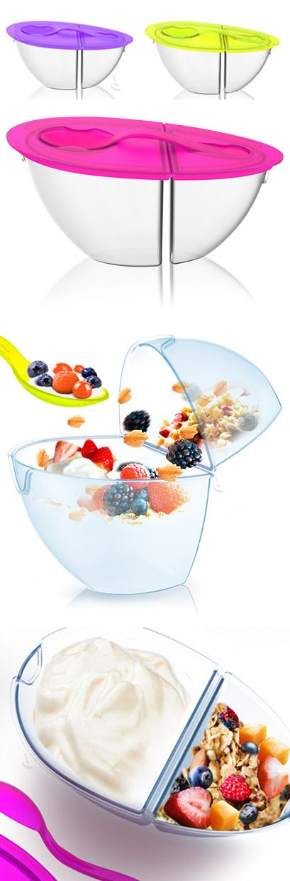Flip 'n' Pour Container // perfect for yogurt, cereal etc. to keep dry and moist food separate until you're ready to combine + eat!