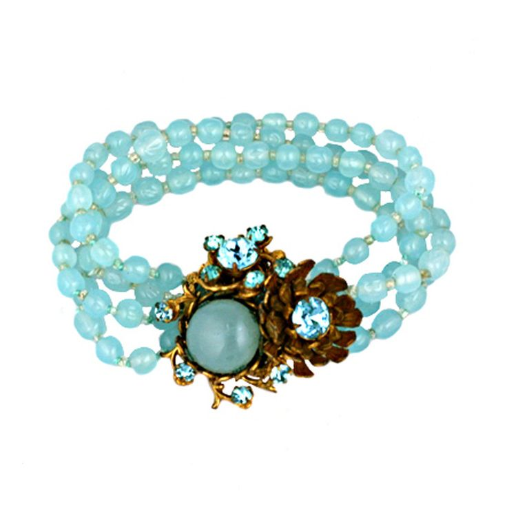 Aquamarine Miriam Haskell Bracelet | From a unique collection of vintage beaded bracelets at http://www.1stdibs.com/jewelry/bracelets/beaded-bracelets/
