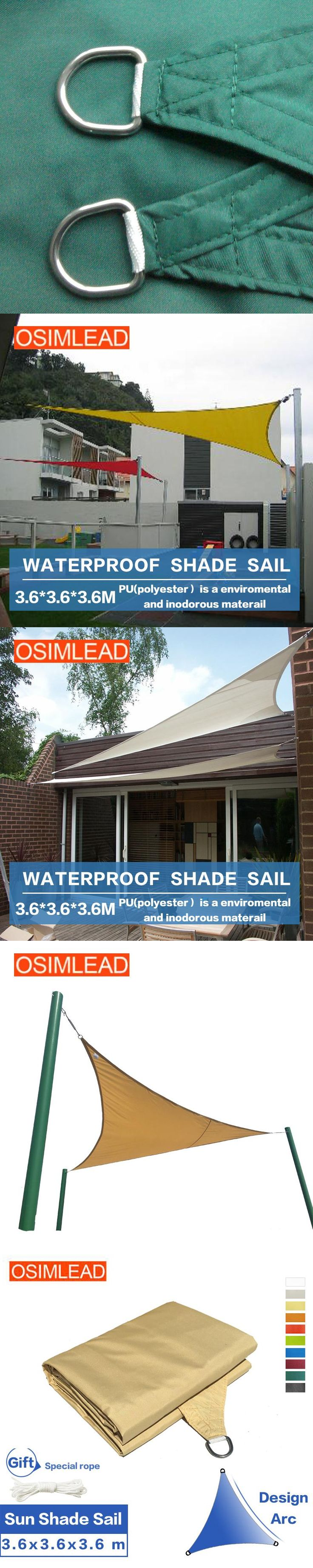 OSIMLEAD 3.6*3.6*3.6m waterproof sun shade sail - RECTANGLE CANOPY COVER - OUTDOOR PATIO AWNING 12 * 12 * 12