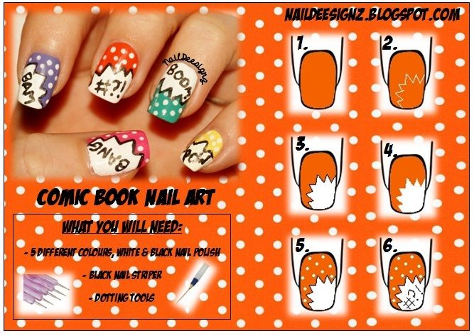 69 best my nail art tutorials images on pinterest html ideas hi this week i have created a comic book inspired nail art i decided to do this design this week because in literacy this week i wil prinsesfo Image collections
