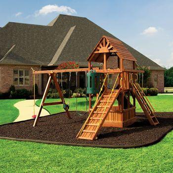 Rubberific Timber Playground Borders & Mulch - going in around the swing