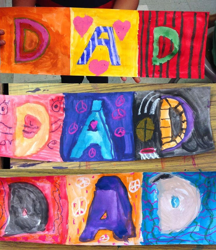 Tempera and Oil Pastel Father's Day Card.  (Accordion folded)  #ece  #fathersday