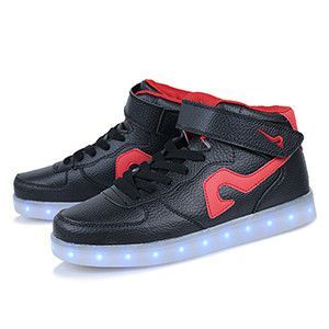 High top flashing led luminous shoes White Red