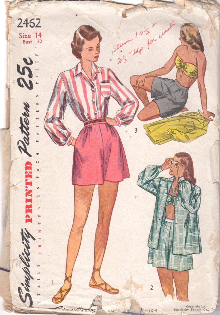 Semplicità 2462 1940s Misses reggiseno Top camicetta pantaloncini modello Womens Vintage Sewing Pattern dimensioni 14 busto 32 di mbchills su Etsy https://www.etsy.com/it/listing/216468024/semplicita-2462-1940s-misses-reggiseno