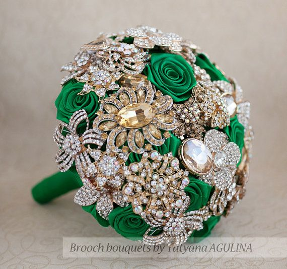 Hey, I found this really awesome Etsy listing at https://www.etsy.com/listing/197357175/brooch-bouquet-gold-and-emerald-wedding