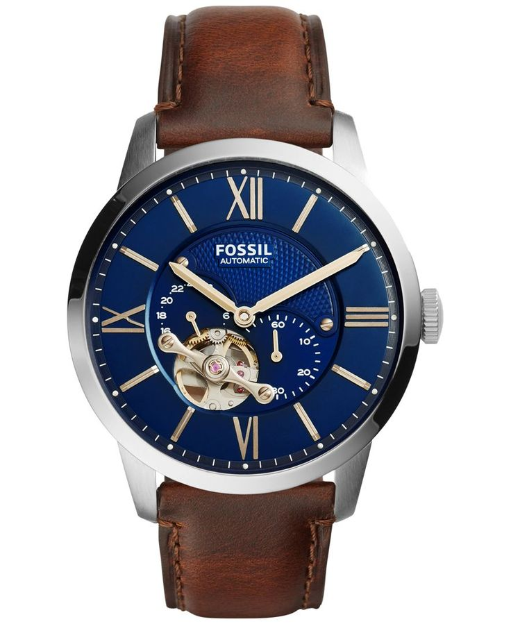 Fossil Men's Automatic Chronograph Townsman Brown Leather Strap Watch 44mm ME3110