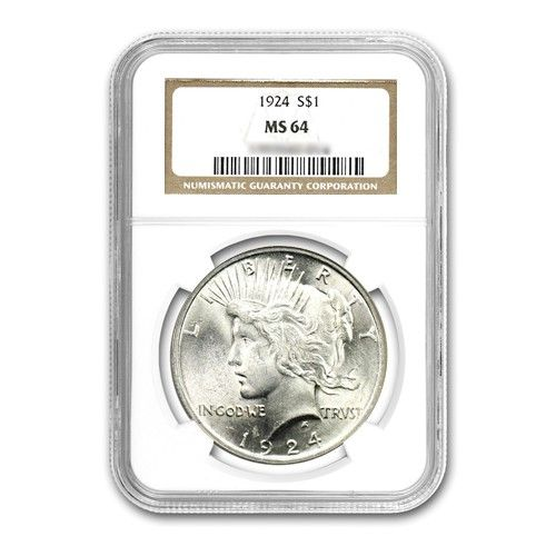1924 $1 Peace Silver Dollar - NGC MS64
