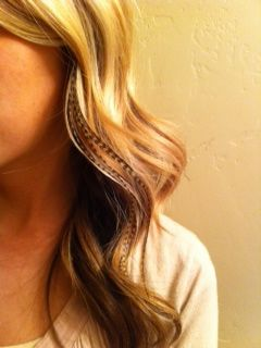 Mid length hair + blonde w/ dark highlights + feathers